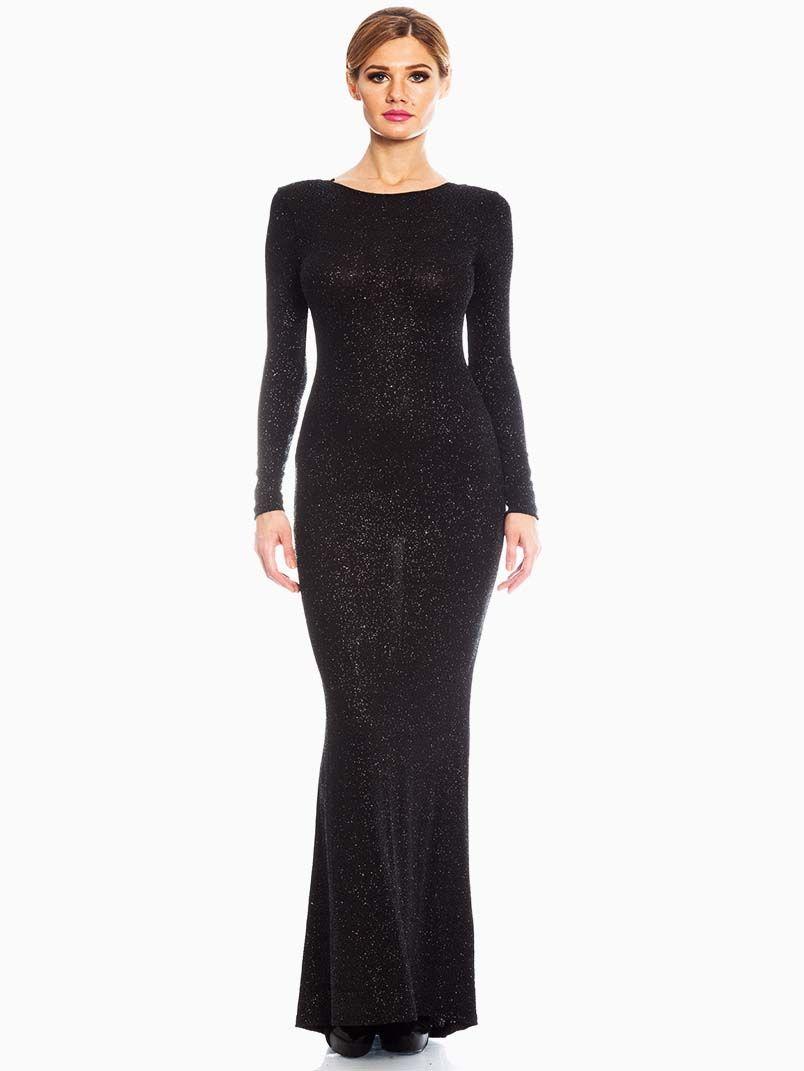 Red Loft Elegance Black Sequin Evening Maxi | Black sequins, Evening ...