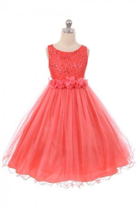 a308fda7193 Coral+Sleeveless+Shiny+Tulle+Flower+Girls+Dress+with+Floral+Waist+sash +MB-340F-CR+on+www.GirlsDressLine.Com