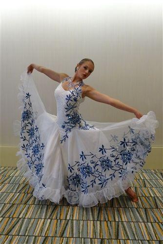 Elegant White and Blue Flower Ballroom Dress | Dance dresses