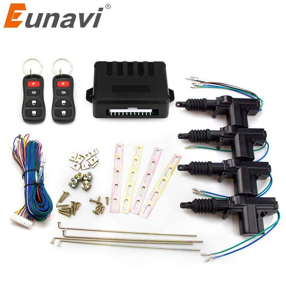 Eunavi Universal Auto Central Lock Car Power Door Lock Actuator 12 Volt Motor 4 Pack Car Central Locking Keyless Keyless Entry Systems Packing Car Door Locks