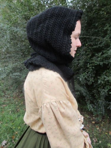 WOMEN-039-S-CROCHETED-100-WOOL-CIVIL-WAR-STEAMPUNK-DICKENS-BLACK-MOURNING-HOOD