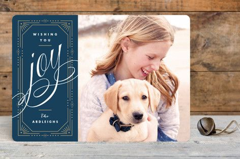 Golden Framed Joy Holiday Photo Cards by Kristie Kern at minted.com