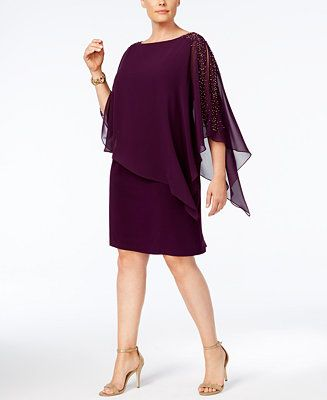 9d1fa8341e3 Shop for Dresses online at Macys.com. Twinkling embellishments trace the  exposed shoulders of an exceedingly chic and flattering plus-size special  occasion ...