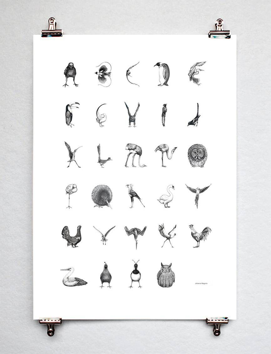 Bird alphabet Swedish/ Danish or Norweigan via Webshop - Johanna Magoria. Click on the image to see more!
