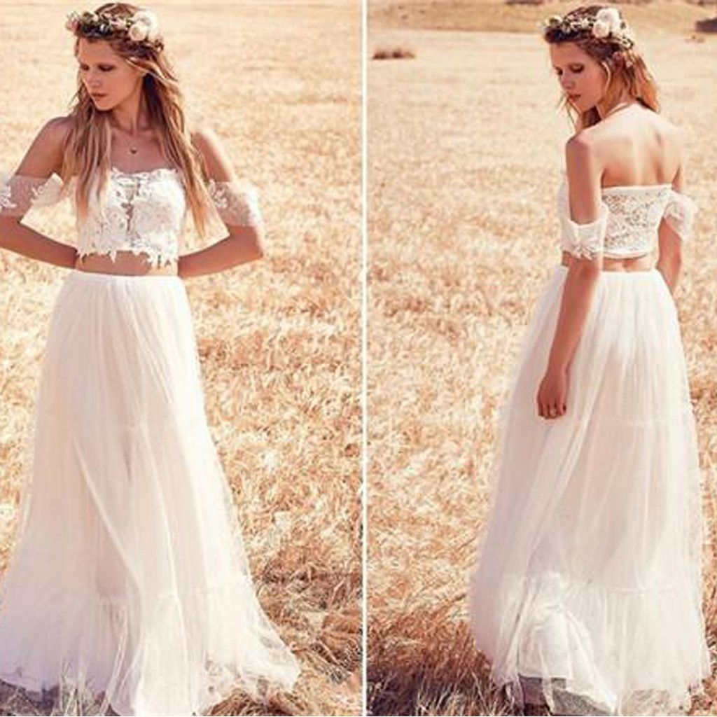 Two pieces off shoulder lace top white tulle wedding dresses wd