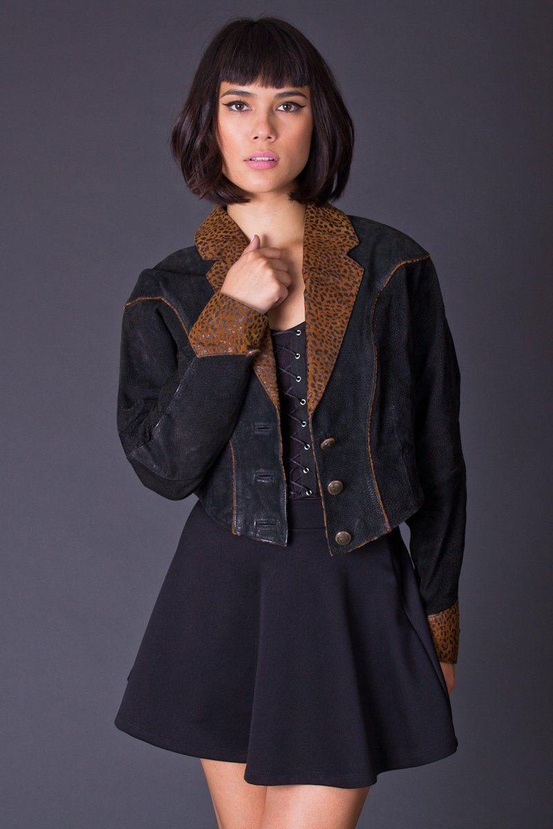 Telltale Hearts Vintage Leopard Trim Cropped Leather Jacket - New Arrivals