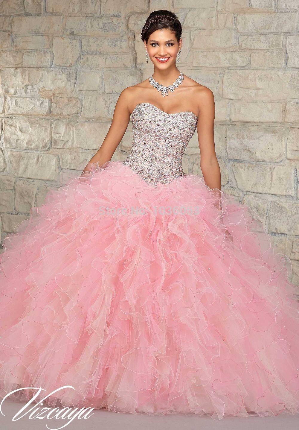2015-Sparkle-Beaded-larga-Pink-tirantes-balón-vestido-de-baile ...