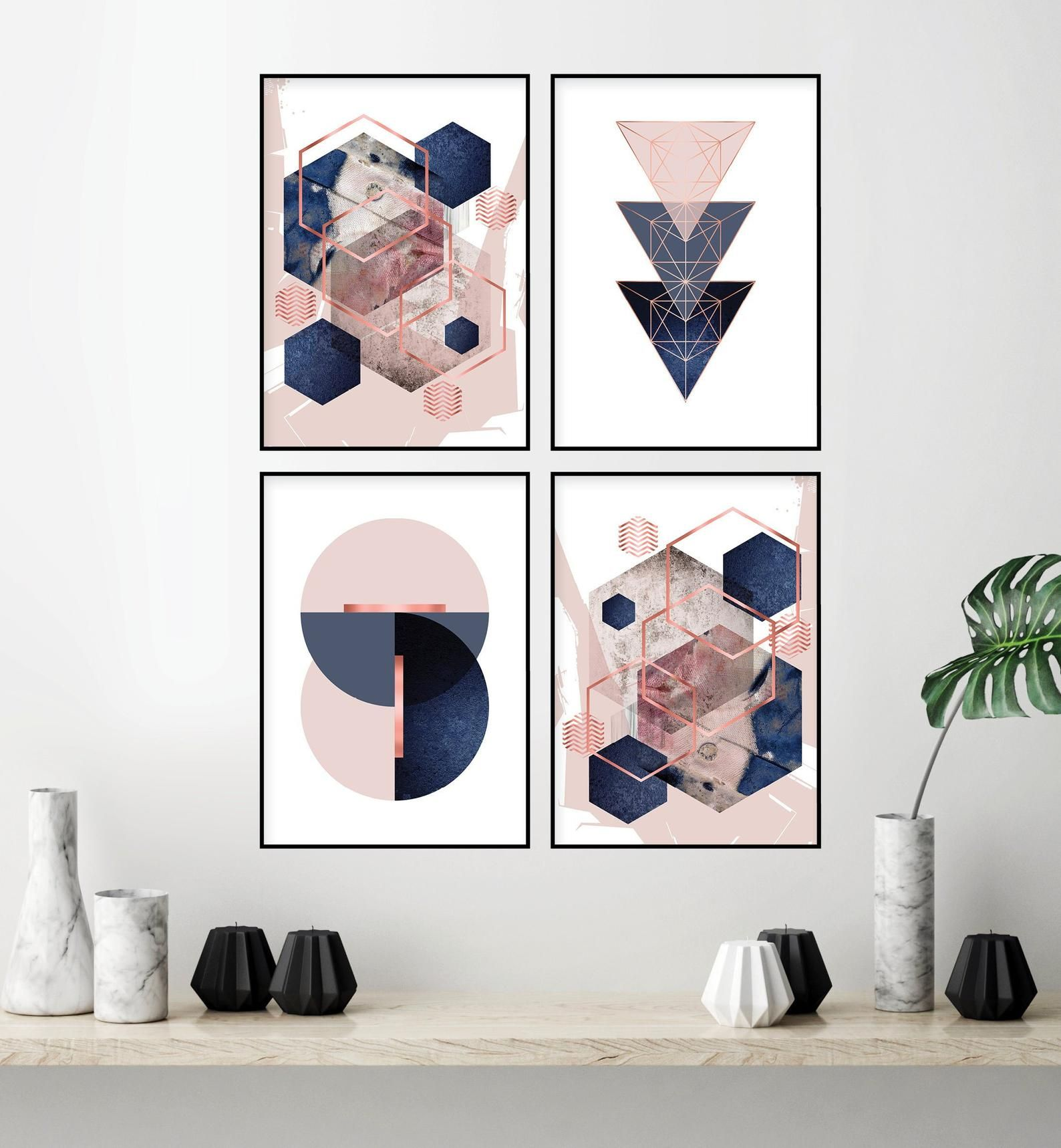 Set Of 4 Printable Blush Pink Navy Blue Rose Gold Geometric Art Prints Digital Download Dusky Pink Indigo Bedroom Wall Decor Trending Now In 2020 Geometric Art Prints Wall Decor Trends Trending Decor