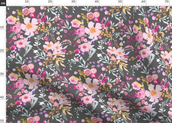 Pink Floral Spring Pattern Fabric  Portobello Floral Charcoal By Nouveau Bohemian  Floral Pink Floral Spring Pattern Fabric  Portobello Floral Charcoal By Nouveau Bohemia...