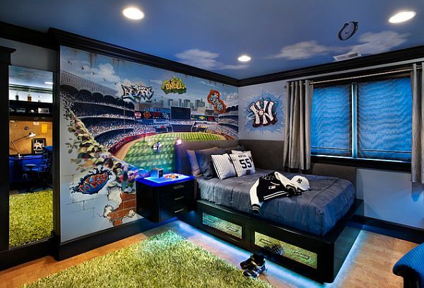 If you happen to have a teenage boy who loves baseball, this is a great idea to bring the spectacular game to his everyday life. More to it, if it happens to be a Yankee's fan you can copy the design above in all its entirety ...