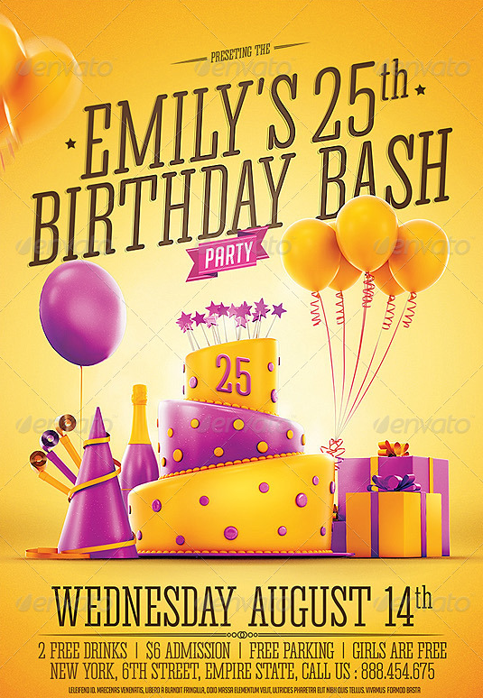 Birthday flyer template word militaryalicious 20 beautifully designed psd birthday party flyer templates stopboris Choice Image