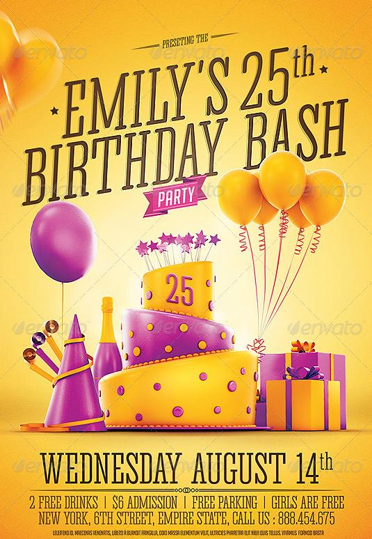 birthday invitation flyer template