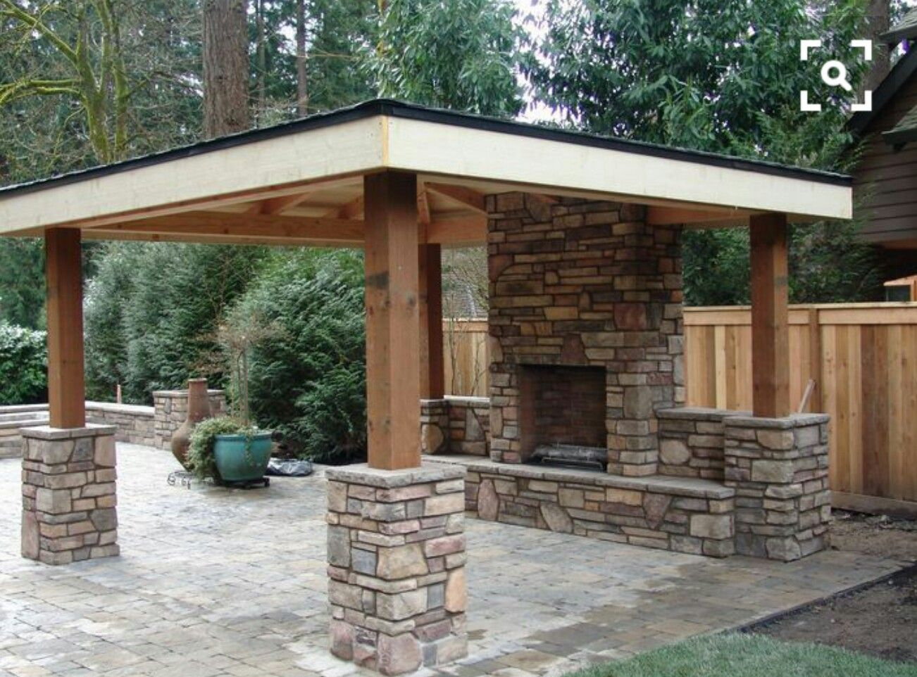 Porch Support With Stone Base Backyard Seating Area Backyard