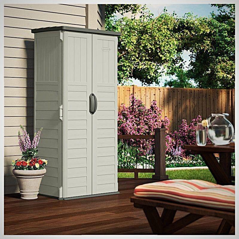 Outdoor Storage Cabinet Plastic Vertical Tool Garden Shed ...