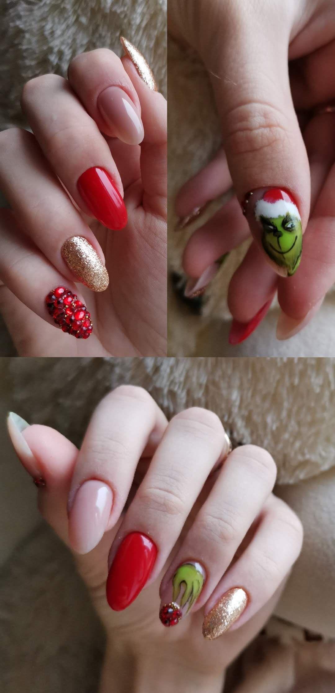 Nails Manicure Grinch Новогодний маникюр Гринч