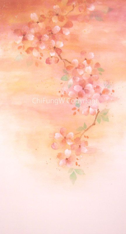 Sakura Cherry Blossoms Flower Flower Painting By Chifungw On Etsy Flower Painting Cherry Flower Cherry Blossom Flowers