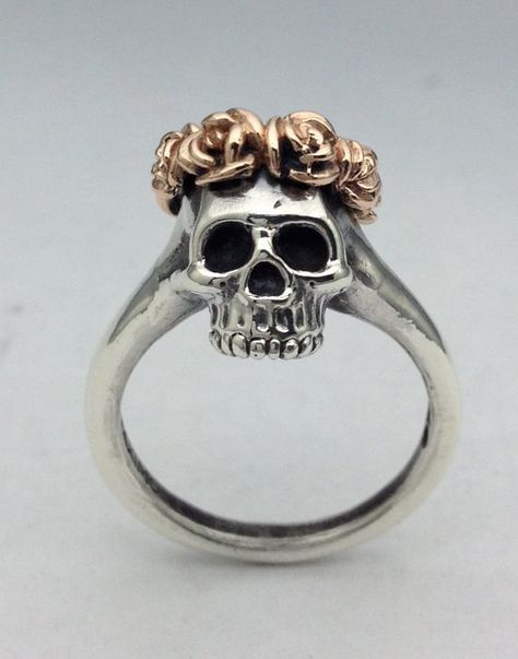 Silver Skull Ring with Rose Crown in Rose Gold on Etsy
