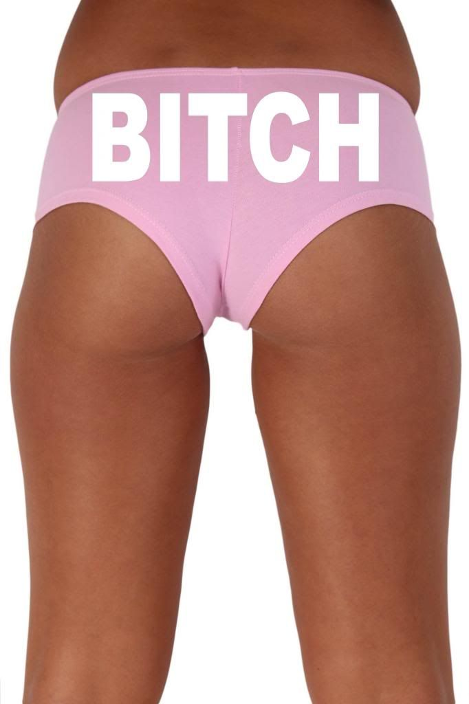 Women's Sexy Hot Booty Boy Shorts Bitch Block White Bold Style Type Lingerie