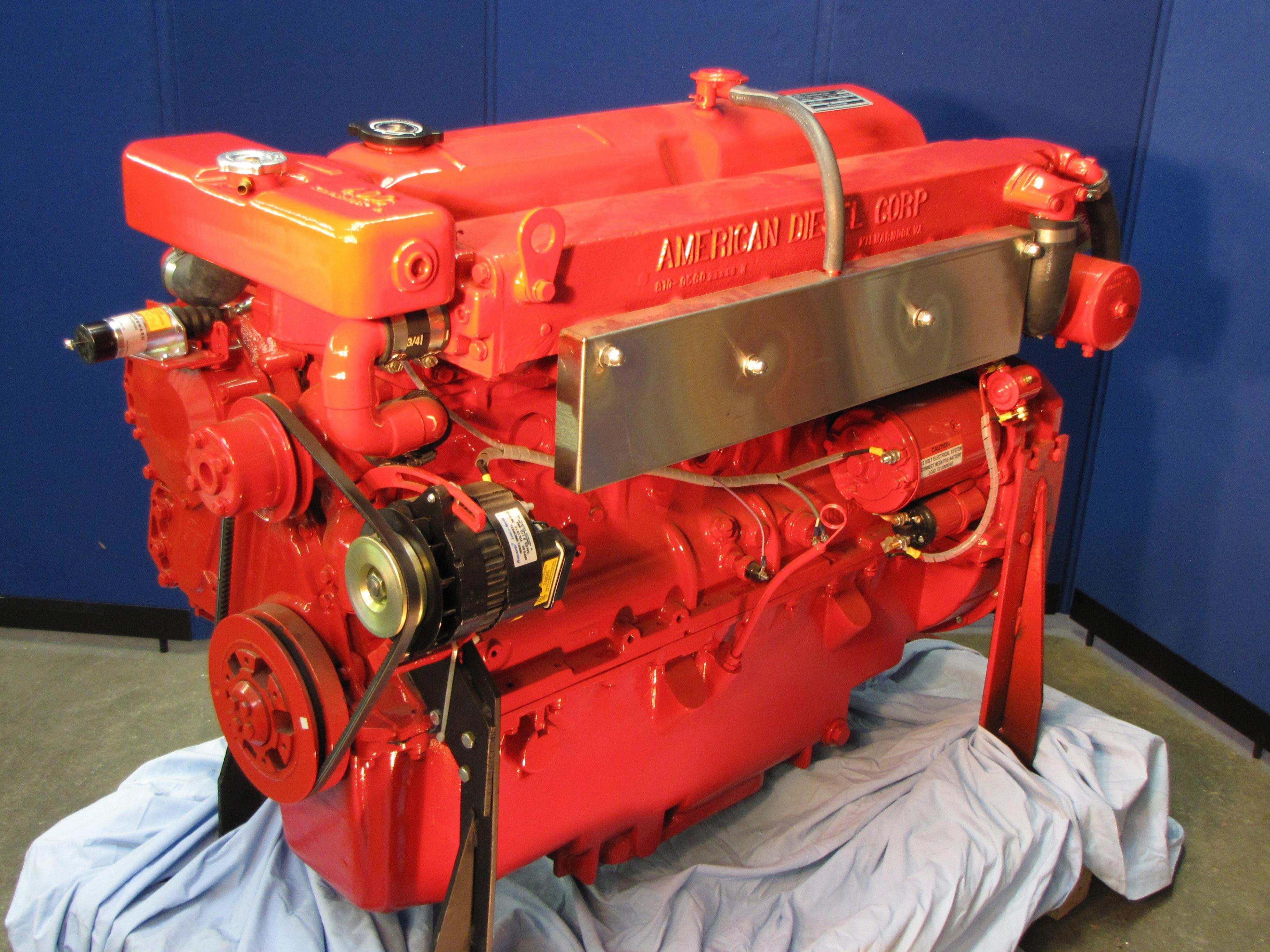 American Diesel 6N140 marine diesel engine has been the replacement for  earlier 6D380-120 and SP135 Lehman engines.