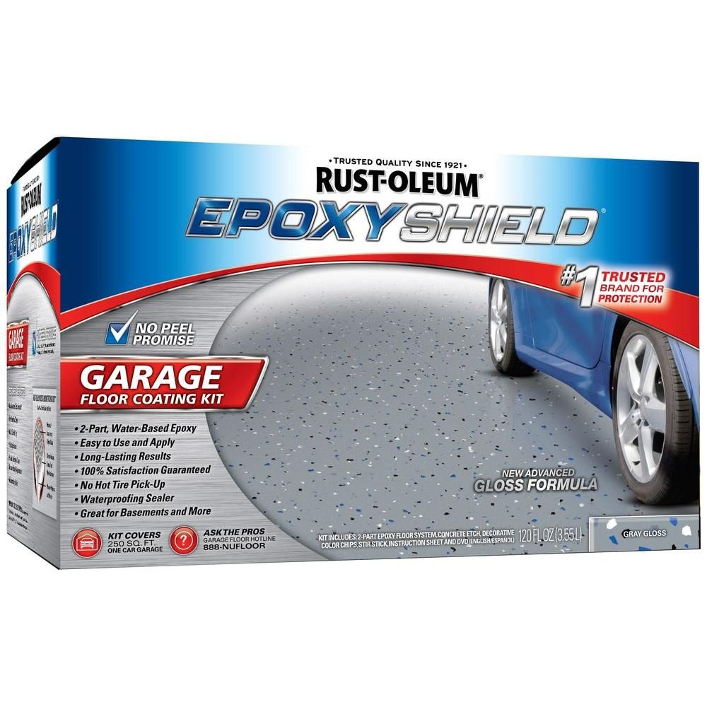 Garage Floor Paint Hot Tire Rust Oleum Epoxyshield 1 Gal Gray High Gloss Low Voc One Car