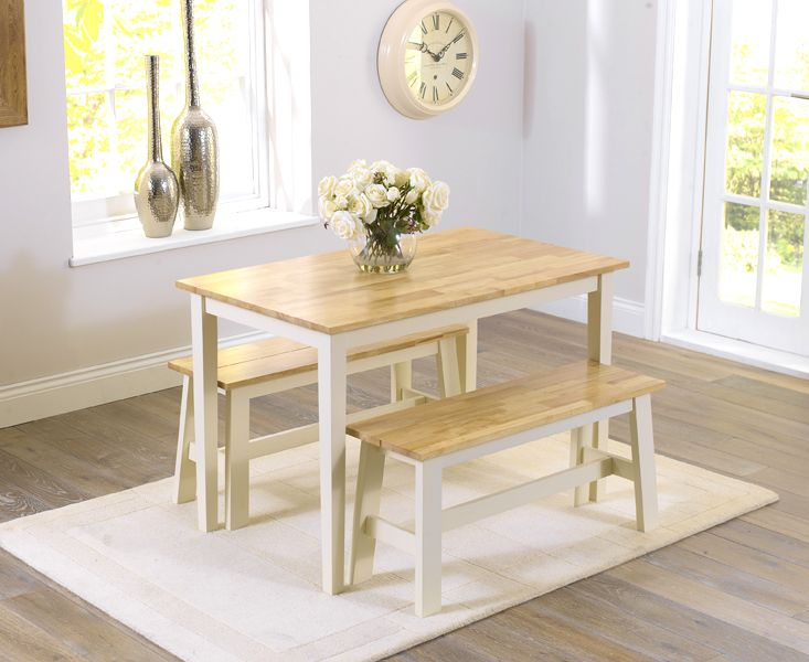 chiltern 115cm oak and cream dining set with 2 benches - Cream Kitchen Tables