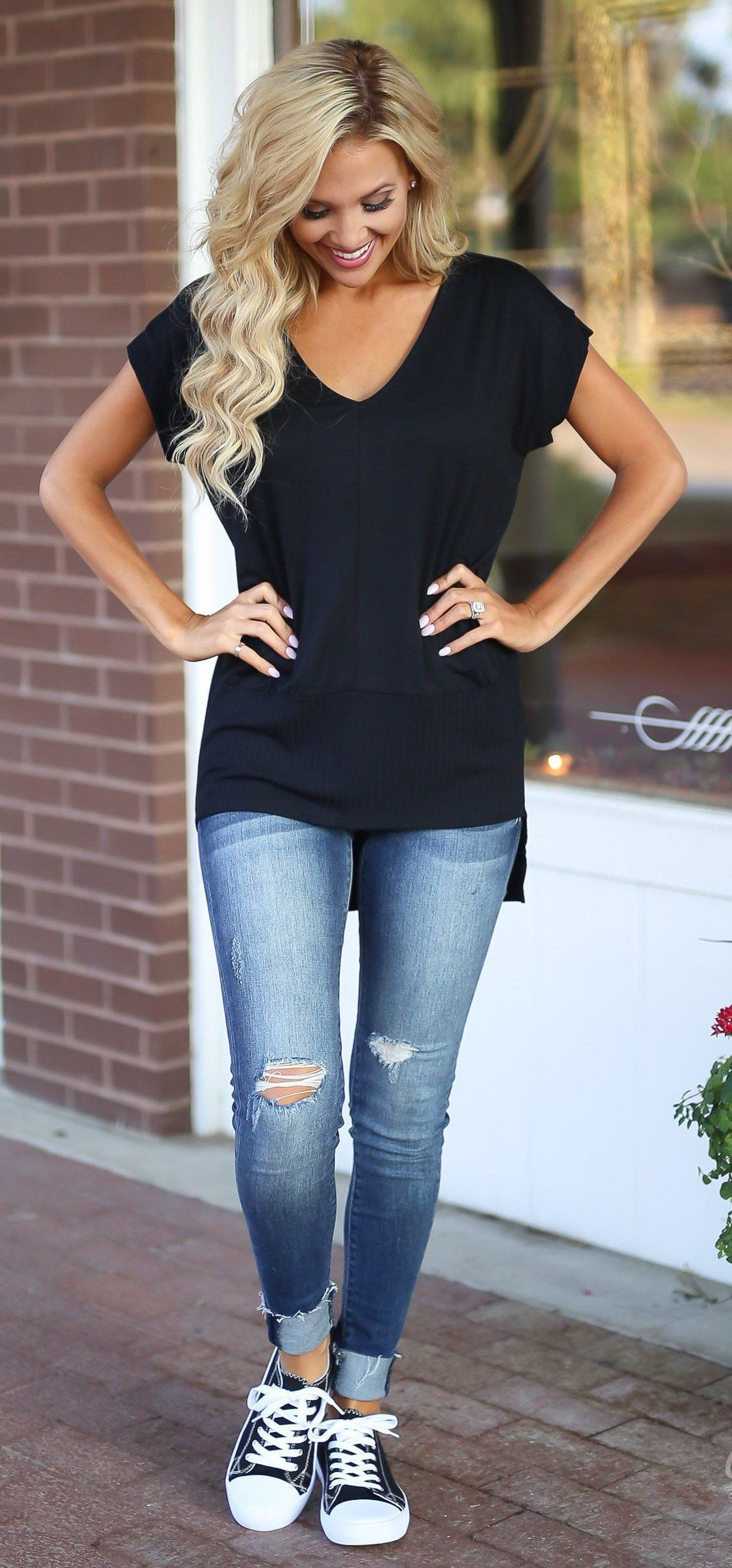 ea4bbd047193  fall  outfits women s black v-neck short-sleeve shirt and blue denim  distressed jeans