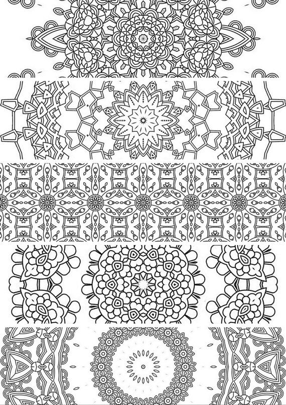 5 BookmarksPrintable Bookmarks Instant Download PDF Mandala Doodling Page Adult Coloring