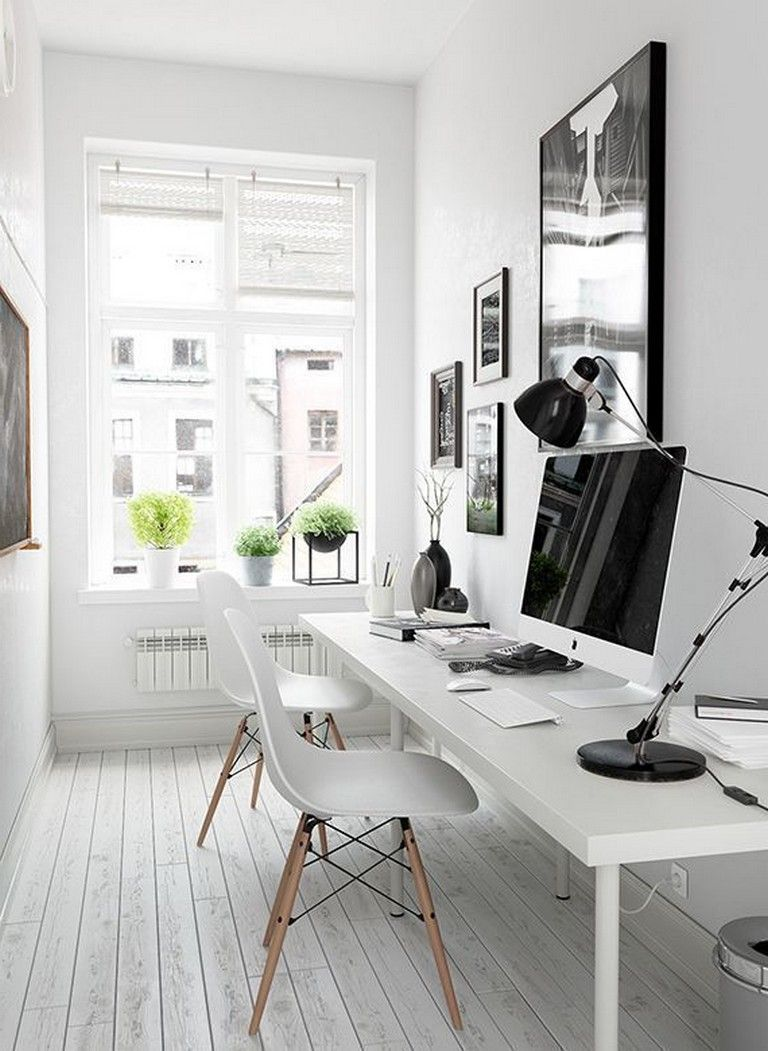 48 Elegant Office Decor Ideas For Small Apartment Officedecor Officedesign Smallapartmentdecorating Tiny Home Office Modern Home Offices Small Office Design