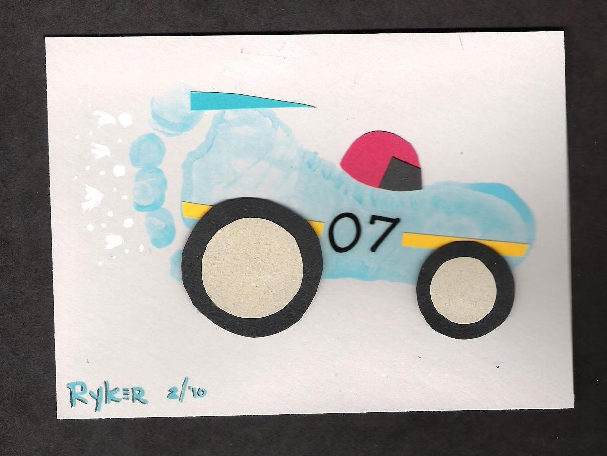 Baby footprint art kid stuff pinterest baby for Car craft for kids