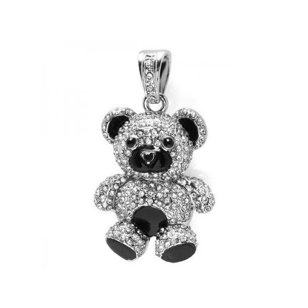 Black Plated CZ Cubic Zirconia Blackout Hip Hop Iced Micro Pave Teddy... (£15) ❤ liked on Polyvore featuring jewelry, pendants, brass, cubic zirconia pendant, cz pendant, pendant jewelry, pave pendant and charm pendant