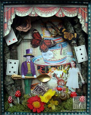 The mad hatters tea altered art shadowbox paper crafts Alice and wonderland art projects