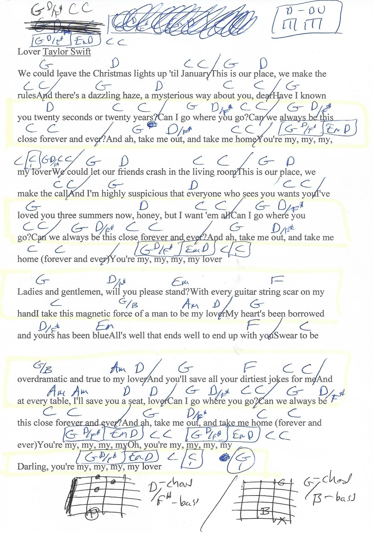 Lover Taylor Swift Guitar Chord Chart   Super New   More ...