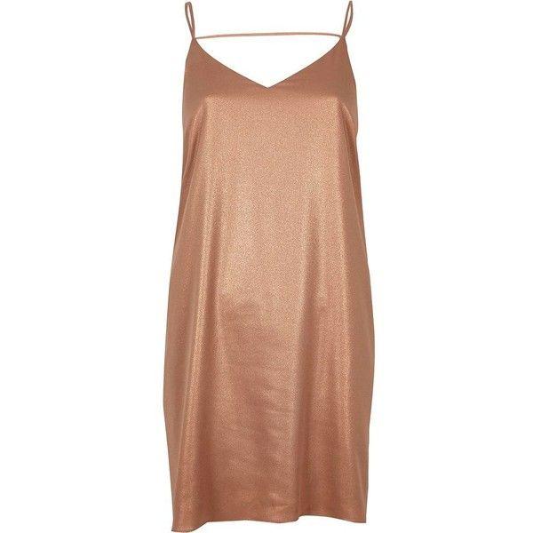River Island Bronze slip dress ($19) ❤ liked on Polyvore featuring dresses, vestidos, cami dress, river island, metallic dress, beige slip dress and bronze dress