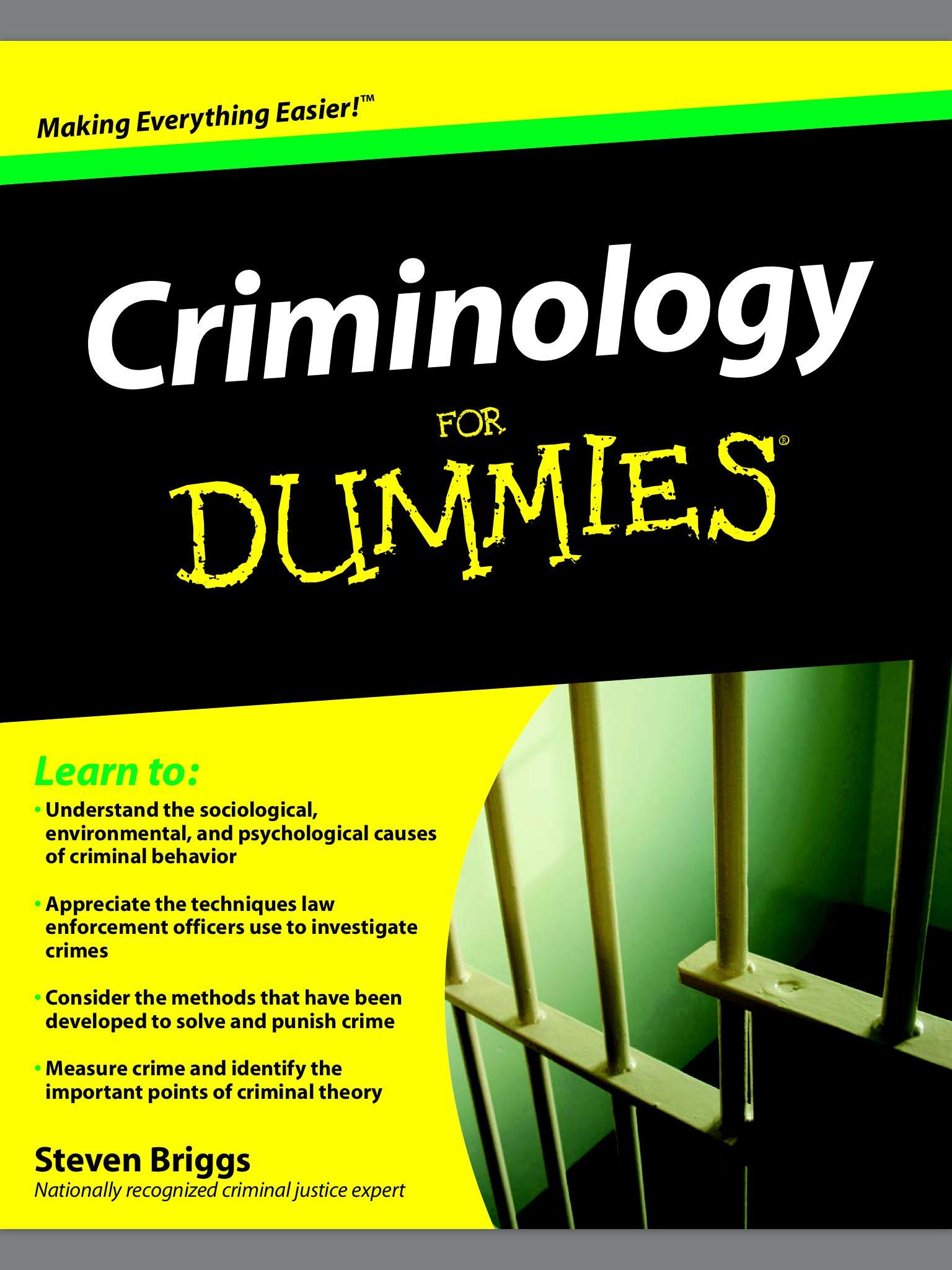 Criminology Book Criminology Criminal Psychology Dummies Book