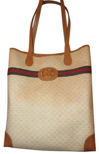 3f7c8e8e6ca263 Gucci Great For Everyday Xl Satchel/Tote Stripe/Gold Mint Vintage  Ivory/Camel Tote in ivory coated canvas/camel G logo/leather & red/green  striped & gold GG ...