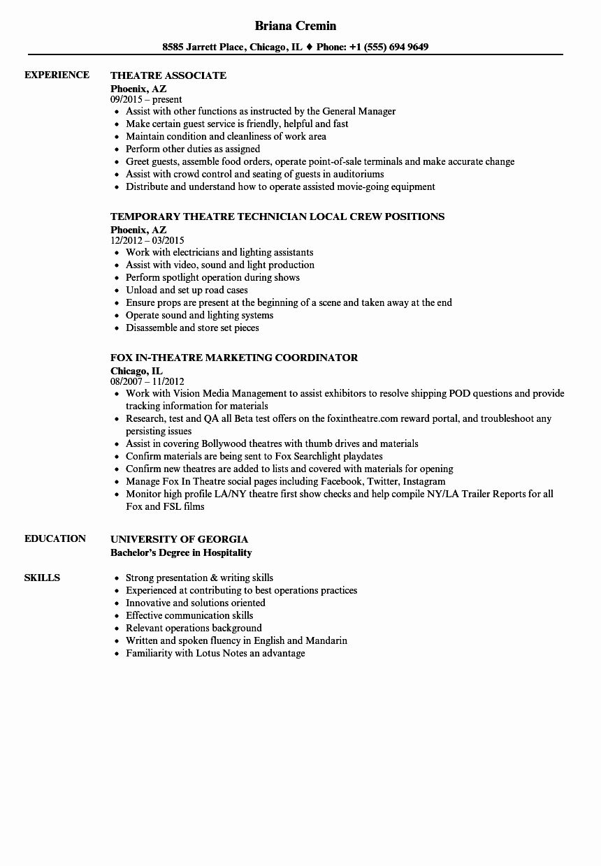 Technical Theatre Resume Template Unique 10 Point Of Sale Experience Resume Resume Template Resume Best Resume Template