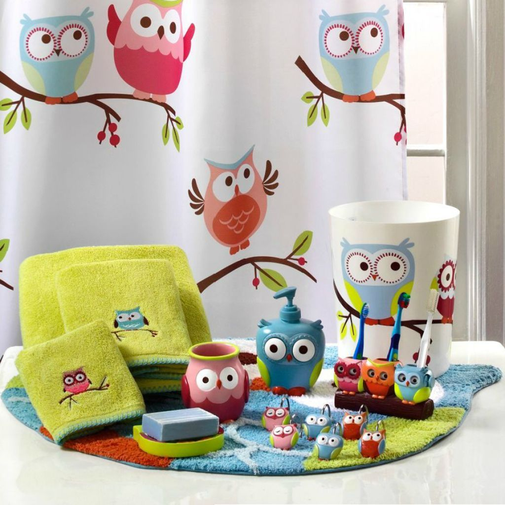 Kids Bathroom Sets And Accessories Be Equipped With Blue Ceramic Bathroom  Wall Tile Round Mirror Without Frame White Kids Bathroom Sets
