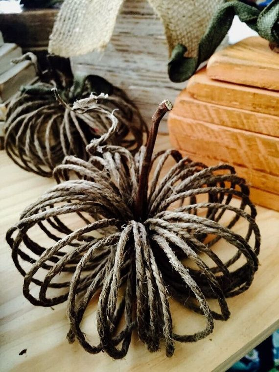 Twine Pumpkins by TheRusticWarehouse on Etsy