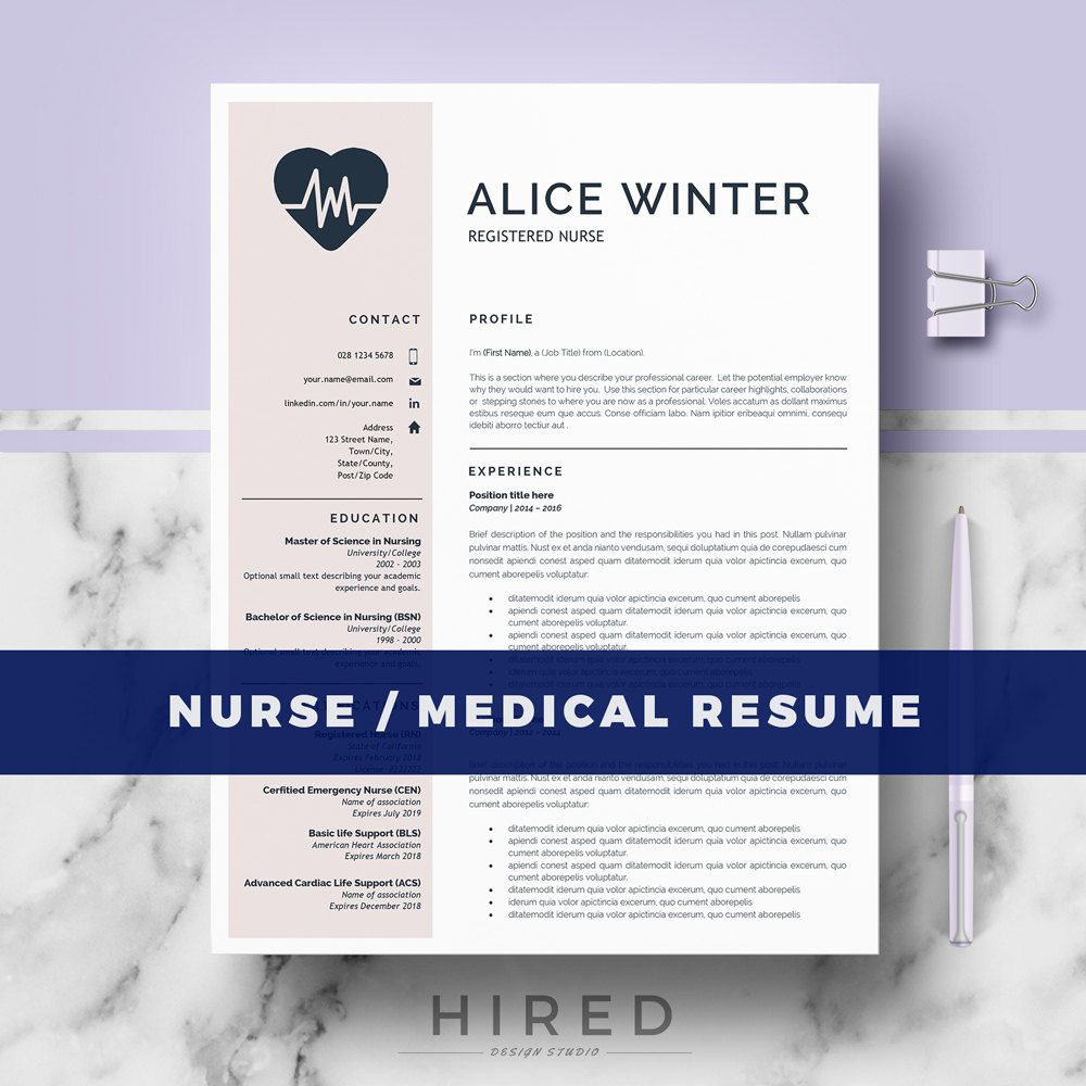 Nurse Resume Template For Word Natalie 100 Editable Instant
