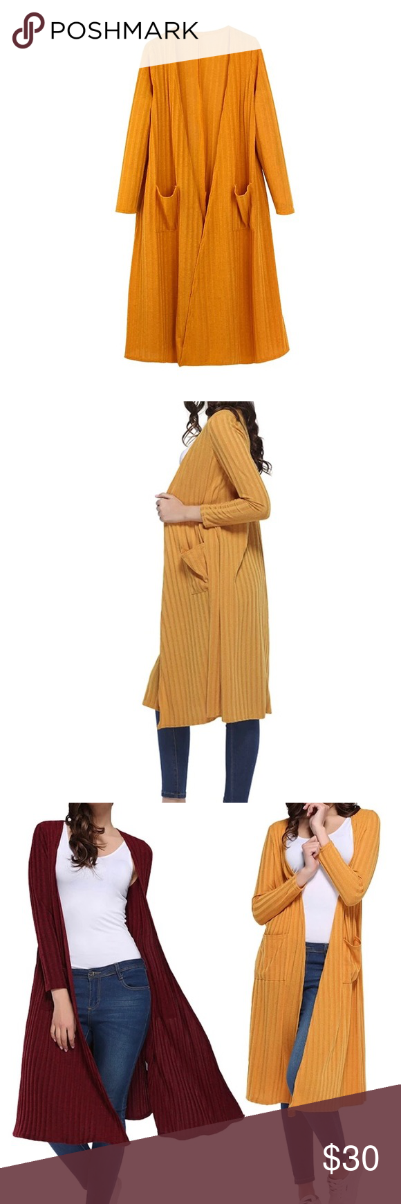Mustard Cardigan Long mustard Cardigan made from 95% polyester Sweaters Cardigans #myposhpicks