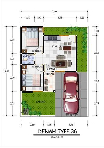 gambar denah rumah minimalis type 36 dengan garasi