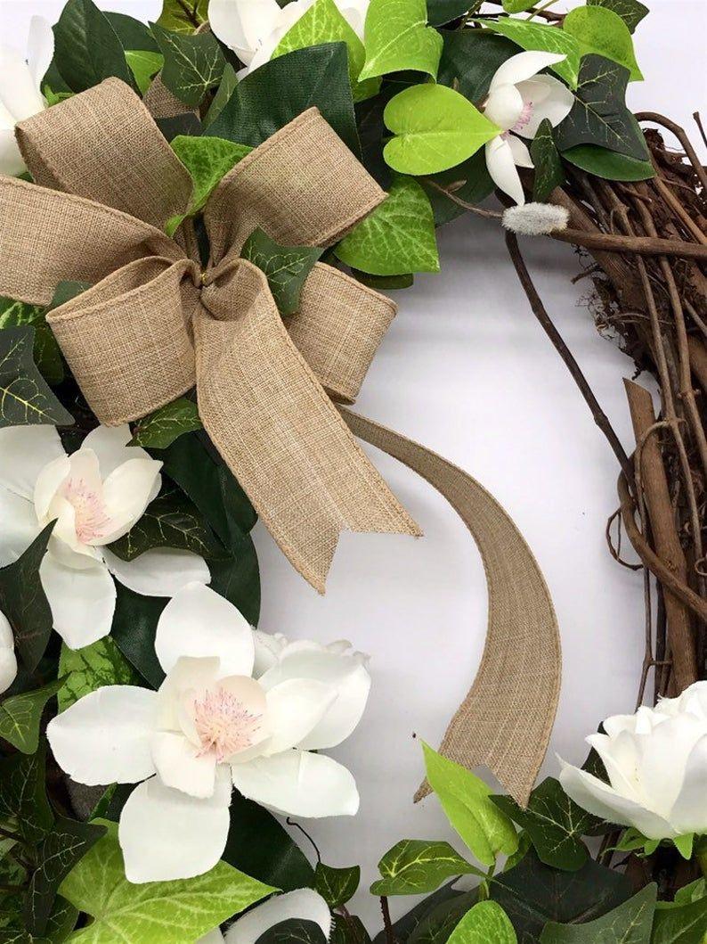 Photo of Oval Wreath for Front Door, Magnolia Wreath, Fall Magnolia Wreath, Farmhouse Grapevine Wreath, Magnolia Leaves Door Decor, Door Hanger