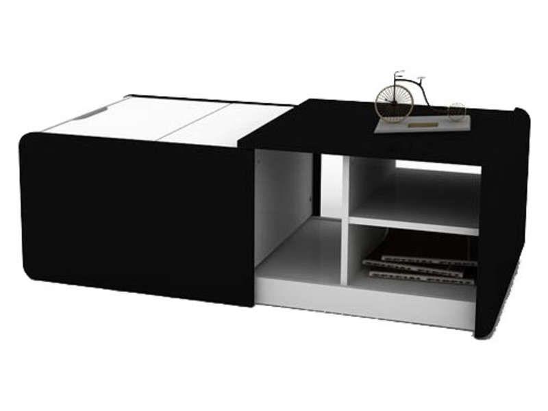 table basse extensible cine 2 coloris noir blanc vente. Black Bedroom Furniture Sets. Home Design Ideas
