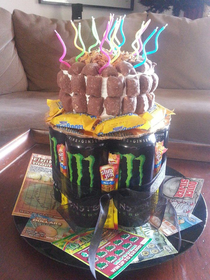 Drinks Tied With Ribbon Birthday Cake Baby Sized Favorite Candy Bar Bite And Regular Slim Jims Lottery Tickets 18 Year Old Boys
