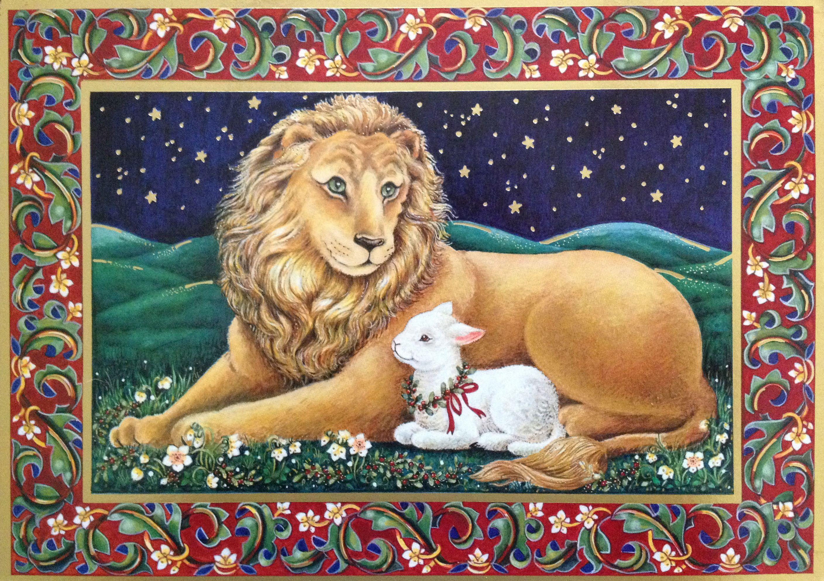 Lion & Lamb Christmas card by Sunrise. Inside message = \