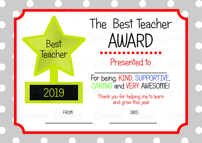 Printable Teacher Appreciation Certificate Teacher Thankyou Gift