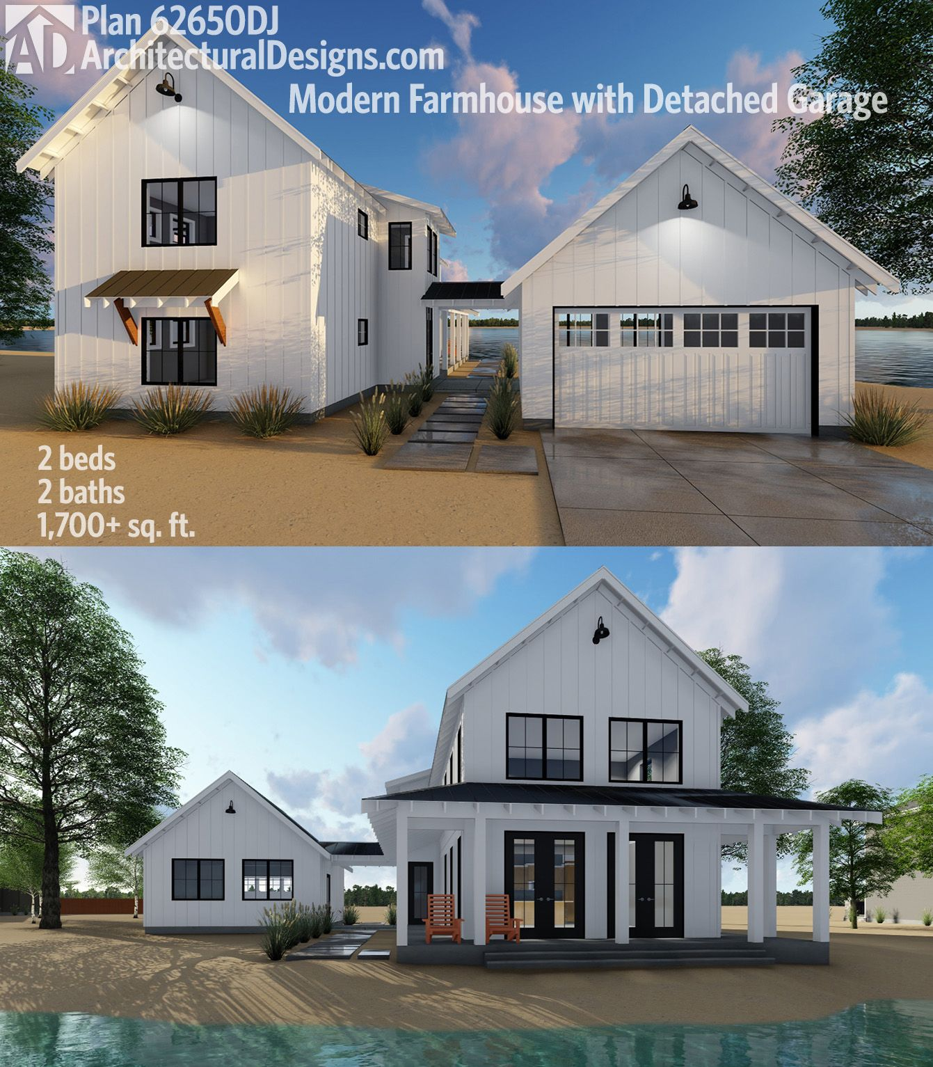 Plan 62650dj modern farmhouse plan with 2 beds and semi for Two car garage square footage