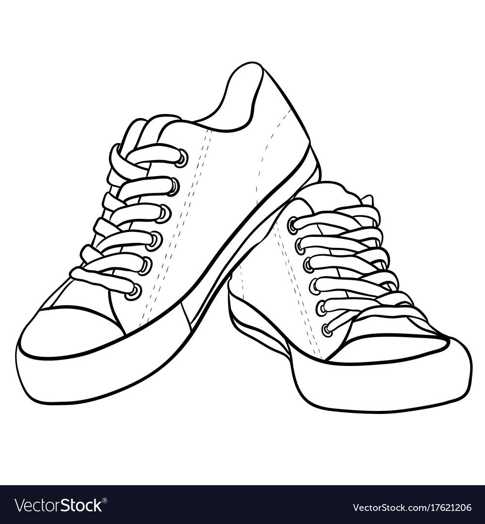 Contour black and white of sneakers vector image on VectorStock