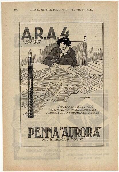 Aurora fountain pen advertisement. Italy, 1925