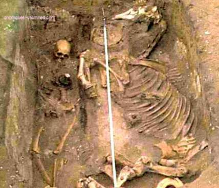 A Saxon warrior who died c. 550 AD was one of the 200+ gravesites unearthed in the middle of the US AF Base in Suffolk, England in 2001. Killed & buried along with the man was his horse, done as ritual to preserve his status as an aristocrat & warrior in the afterlife. This style of burial is common in Scandinavia but rare in England.